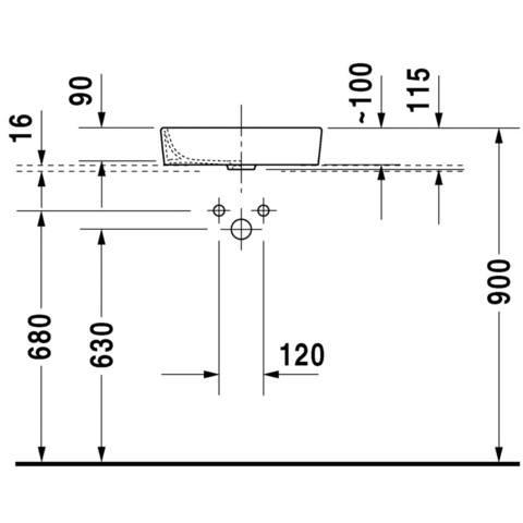 Duravit Starck 2 opzetwastafel 39.5x43.5 cm. zonder kraangat wit