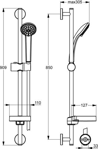 Ideal Standard Idealrain glijstangset 90+handdouche 3f+slang 175+zeepschaal chroom