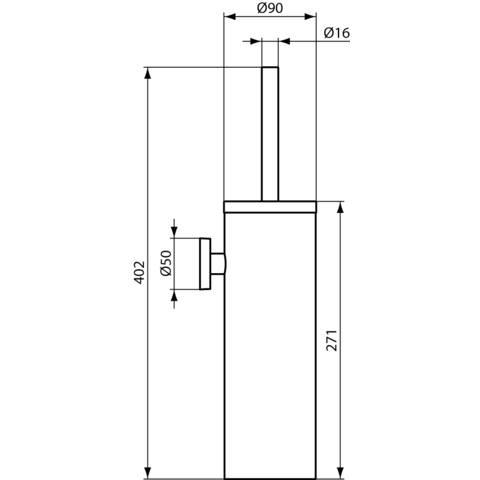 Ideal Standard Iom closetborstelhouder chroom