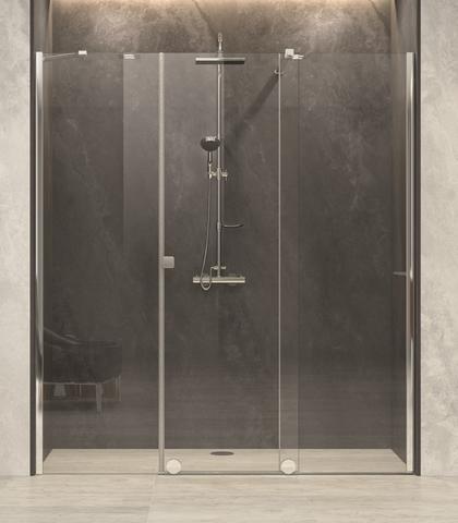 Blinq Tutto nis schuifdeur vast segm+zijd,160-180x200 bev.re. hoogglans-spiegelglas