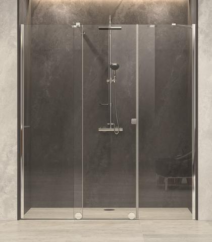 Blinq Tutto nis schuifdeur vast segm+zijd,160-180x200 bev.li. hoogglans-spiegelglas