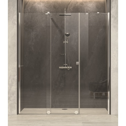 Blinq Tutto nis schuifdeur vast segm+zijd,220-240x200 bev.li. hoogglans-spiegelglas