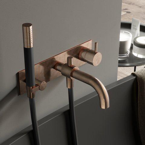 Hotbath Cobber CB026 afbouwdeel bad mengkraan met automatische omstelinrichting verouderd messing
