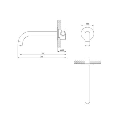 Brauer Black Edition inbouw wastafelkraan - hendel 1 - mat zwart