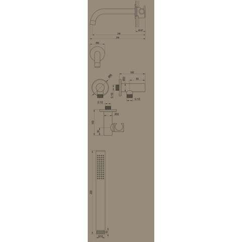 Brauer Black Edition inbouw badthermostaat met uitloop - mat zwart - staafhanddouche