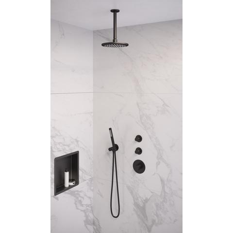 Brauer Black Edition thermostatische inbouw doucheset - mat zwart - hoofddouche 20cm - plafondsteun - staafhanddouche