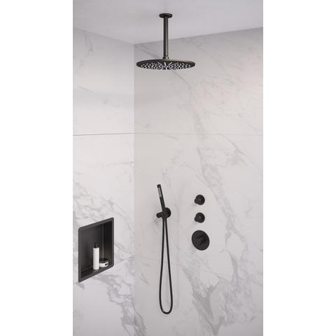 Brauer Black Edition thermostatische inbouw doucheset - mat zwart - hoofddouche 30cm - plafondsteun - staafhanddouche