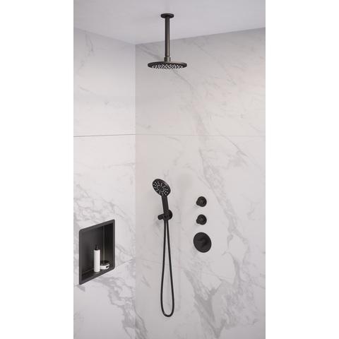 Brauer Black Edition thermostatische inbouw doucheset - mat zwart - hoofddouche 20cm - plafondsteun - ronde handdouche