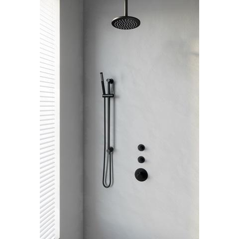 Brauer Black Edition thermostatische inbouw doucheset - mat zwart - hoofddouche 20cm - plafondsteun - staafhanddouche - met glijstang