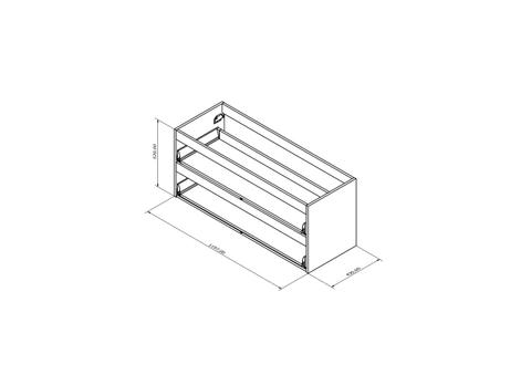 Blinq Tutto wastafelonderkast z/fronten 2 la 120x52 echt hout eiken