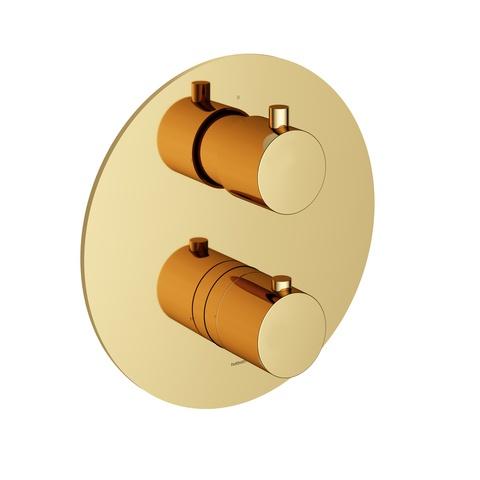Hotbath Cobber CB009EXT afbouwdeel voor inbouw thermostaat met 2-weg omstel gepolijst messing PVD