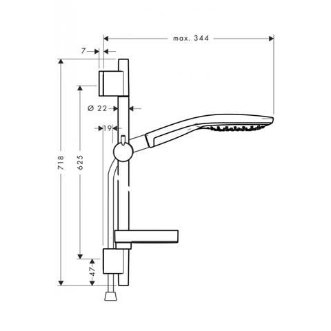 Hansgrohe Raindance Select S150 Unica'S Puro glijstangset 65cm chroom