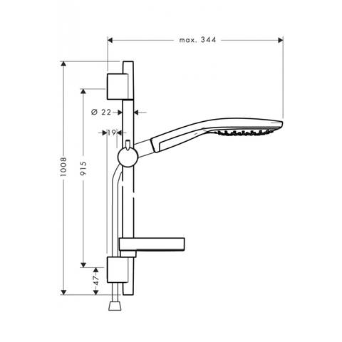 Hansgrohe Raindance Select S150 glijstangset 90cm wit-chroom