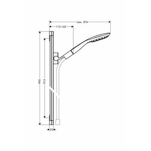 Hansgrohe Puravida doucheset 90 cm. met handdouche 3jet wit-chroom