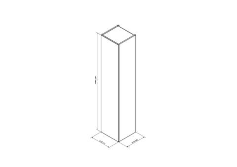 Blinq Tutto hoge kast zonder greep 1 deur 169x35 hoogglans wit