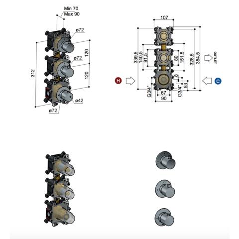 Hotbath Cobber CB7066 inbouw thermostaat met 2 stopkranen verticale plaatsing mat wit