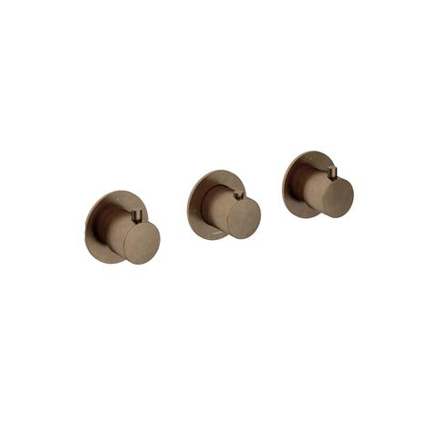 Hotbath Cobber CB7067EXT afbouwdeel voor inbouwthermostaat met 2 stopkranen - horizontaal of verticaal - verouderd messing