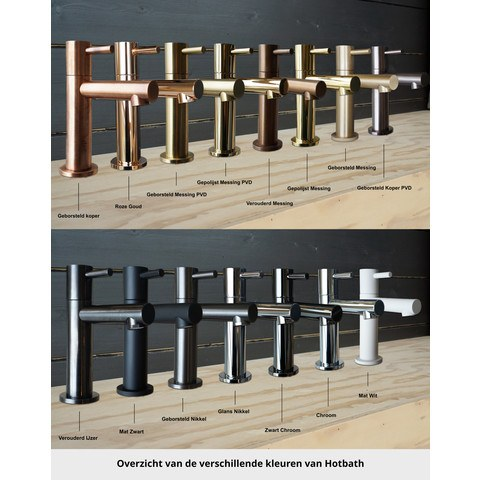 Hotbath Cobber CB7072 inbouw badthermostaat met 2 stopkranen & uitloop geborsteld messing PVD