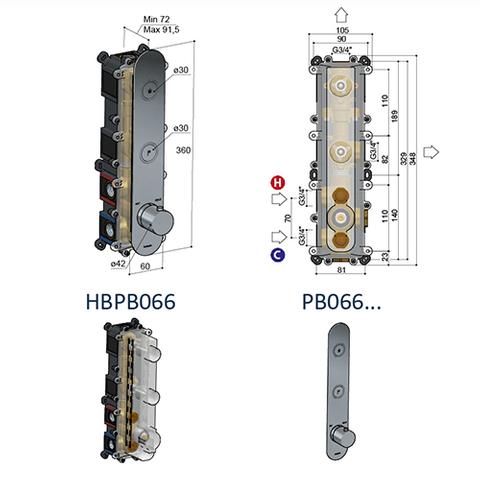 Hotbath Cobber PB066EXT afbouwdeel voor inbouw thermostaat met 2 pushbuttons glans nikkel