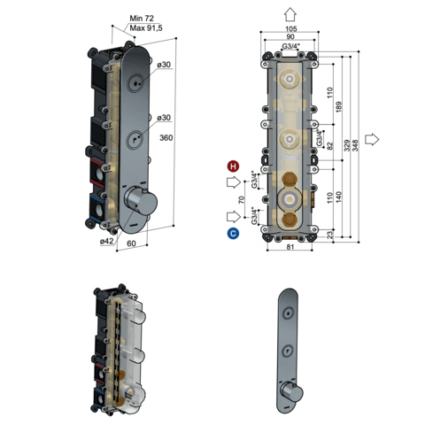 Hotbath Cobber PB066 inbouwthermostaat met 2 pushbuttons glans nikkel