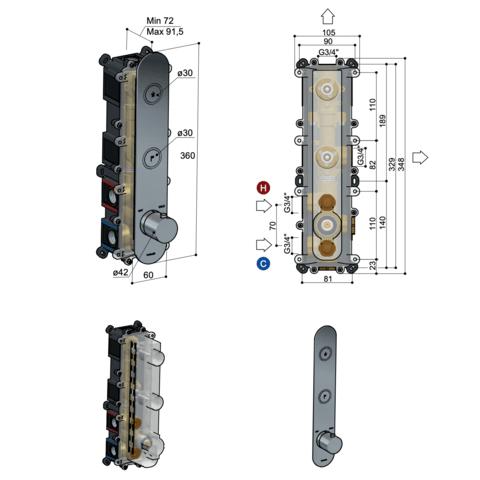 Hotbath Cobber PB066 inbouwthermostaat met 2 pushbuttons verouderd messing