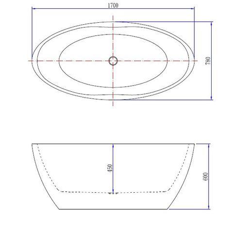 Wiesbaden Oval vrijstaand bad 170x80cm mat wit