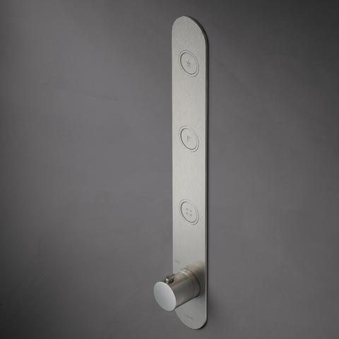 Hotbath Cobber PB050EXT afbouwdeel voor inbouw thermostaat met 3 pushbuttons geborsteld nikkel