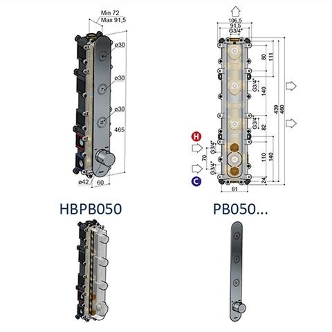 Hotbath Cobber PB050 inbouwthermostaat met 3 pushbuttons verouderd ijzer