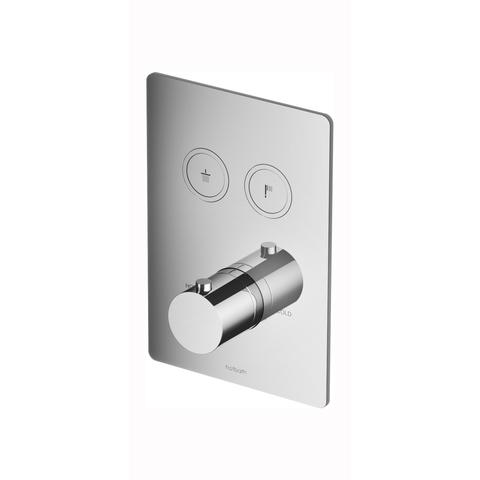 Hotbath Cobber PB009Q inbouwthermostaat met 2 pushbuttons geborsteld messing PVD