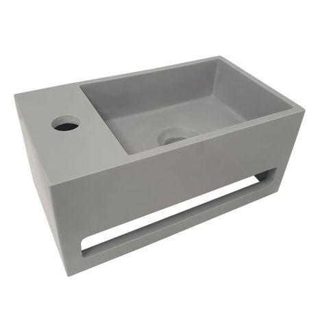 Wiesbaden Julia fontein 35cm Solid Surface met handdoekhouder betonlook - kraangat links
