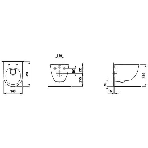 Laufen Pro wandcloset compact 49x36,7x35 cm. rimless wit