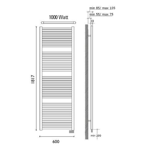 Wiesbaden Elara elektrische handdoekradiator 181,7 x 60 cm (H x L)