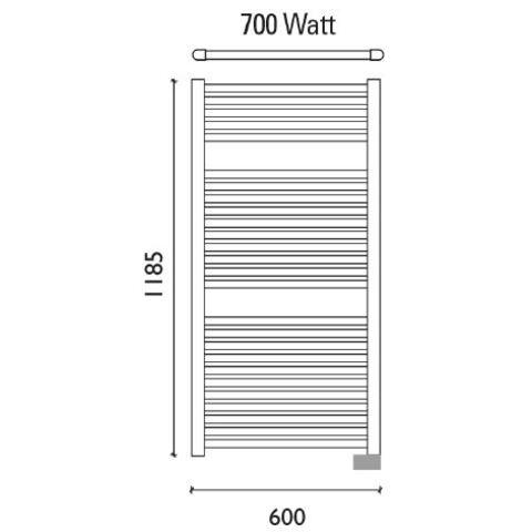 Wiesbaden Elara elektrische handdoekradiator 118,5 x 60 cm (H x L)