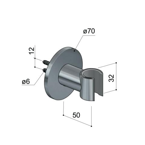 Hotbath Cobber M514 wandsteun glans nikkel