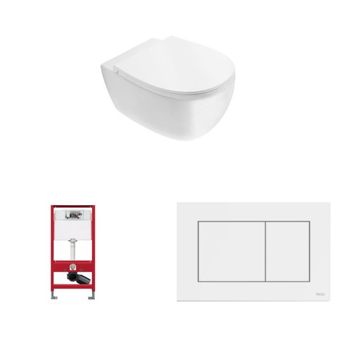 Globo 4ALL toiletset Rimless met Tece reservoir/bedieningsplaat glans wit