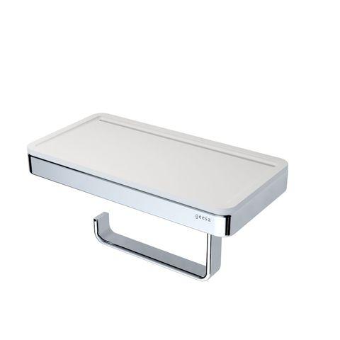 Geesa Frame closetrolhouder met wit planchet chroom