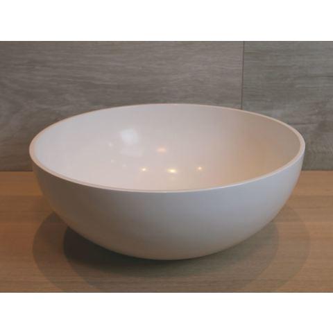 Luca Sanitair  opzetwastafel rond 40x40x15h met dunne rand van mineral stone wit glans