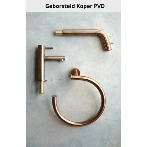 Hotbath Cobber P033 badoverloop + vulcombinatie geborsteld koper PVD