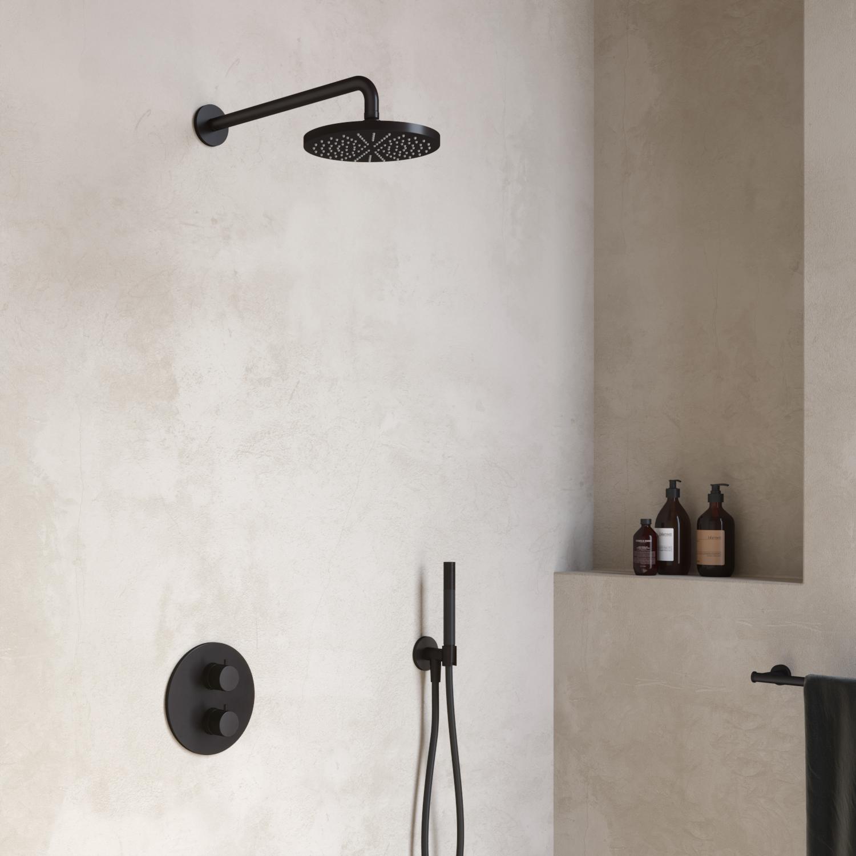 Hotbath Cobber IBS 20A inbouw doucheset - chroom - met ronde handdouche - 30cm hoofddouche - met wandarm - wandsteun met uitlaat