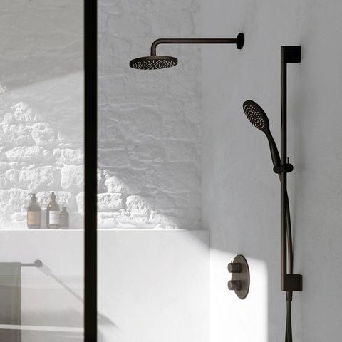 Hotbath Cobber IBS 20A inbouw doucheset - mat zwart - met ronde handdouche - 20cm hoofddouche - met plafondbuis 15cm - glijstang met uitlaat