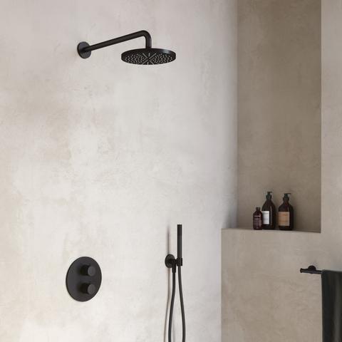 Hotbath Cobber IBS 20A inbouw doucheset - mat zwart - met ronde handdouche - 30cm hoofddouche - met plafondbuis 15cm - wandsteun met uitlaat