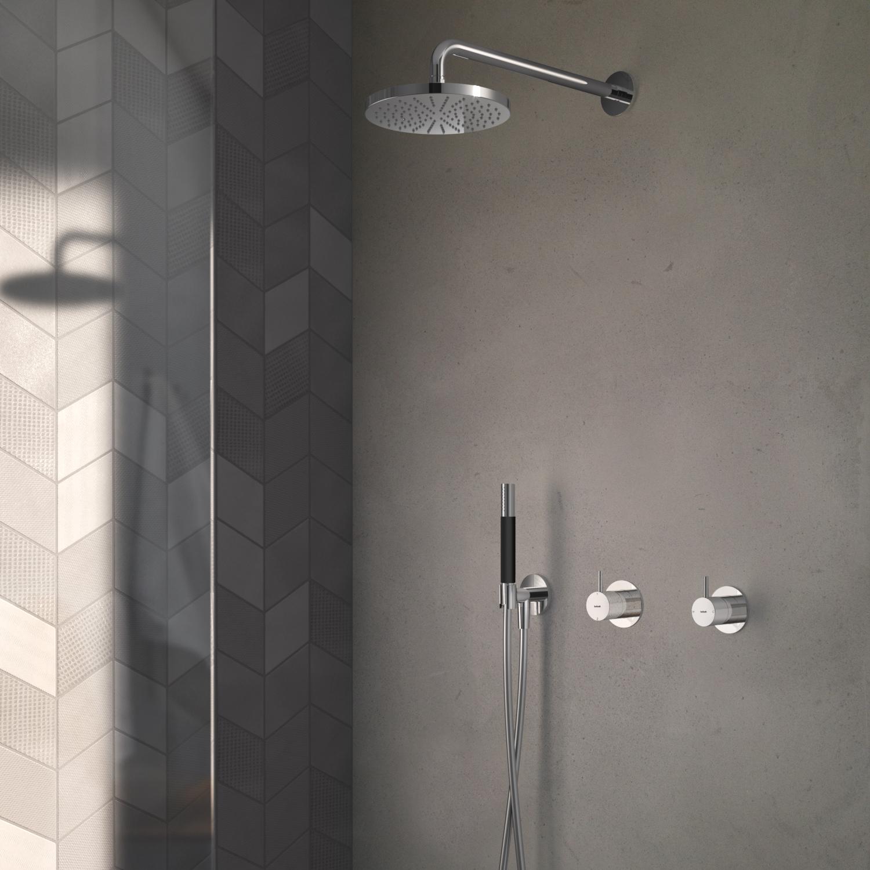 Hotbath Cobber IBS 21 inbouw doucheset - mat zwart - met staafhanddouche - 20cm hoofddouche - met wandarm - wandsteun met uitlaat