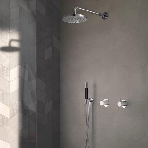 Hotbath Cobber IBS 21 inbouw doucheset - geborsteld nikkel - met staafhanddouche - 30cm hoofddouche - met plafondbuis 15 cm - wandsteun met uitlaat