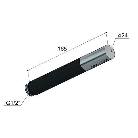 Hotbath Cobber IBS 21 inbouw doucheset - mat zwart - met staafhanddouche - 30cm hoofddouche - met plafondbuis 30 cm - wandsteun met uitlaat