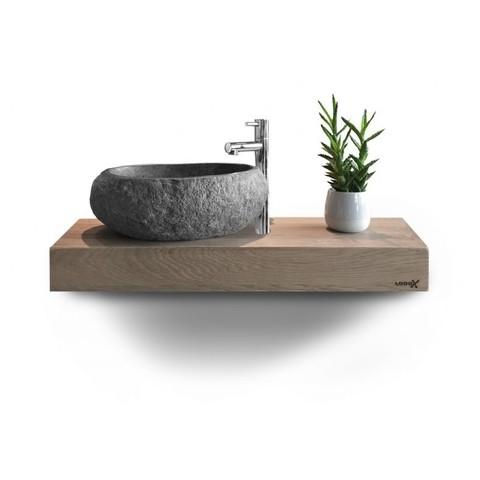 Looox Wood Collection mini base shelf 60 cm. eiken, old grey
