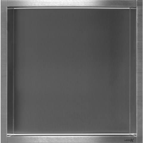 Looox Box inbouw nis 30x30 cm. 10 cm.inbouwdiepte rvs geborsteld