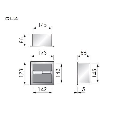 Looox Closed closetrolhouder inbouw vierkant rvs geborsteld
