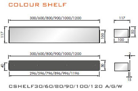 Looox Shelf inbouw planchet 80 x 10 cm. antraciet