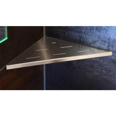 Looox Corner Shelf hoekplanchet 30 x 22 cm. rvs geborsteld