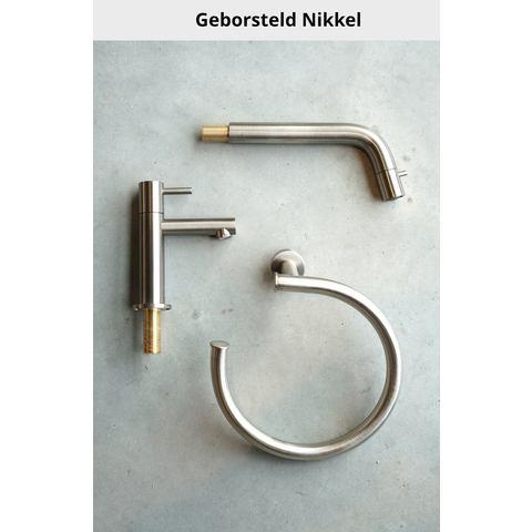 Hotbath Cobber IBS 21 inbouw doucheset - geborsteld nikkel - met ronde 3 standen handdouche - 20cm hoofddouche - met plafondbuis 30cm - wandsteun met uitlaat